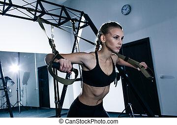 exercises, trx, гимнастический зал, женщина, спортивный