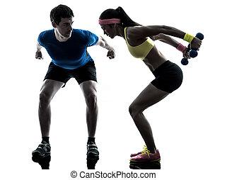 exercising, вес, тренер, человек, обучение, женщина, фитнес
