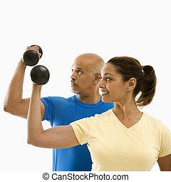 exercising., женщина, человек
