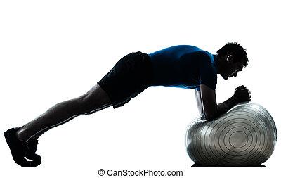 exercising, разрабатывать, мяч, человек, фитнес, поза
