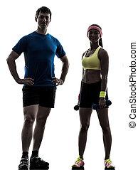 exercising, разрабатывать, posing, тренер, человек, женщина, фитнес