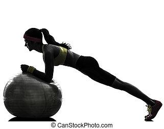 exercising, силуэт, доска, разрабатывать, женщина, фитнес, должность