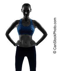exercising, силуэт, портрет, женщина, фитнес