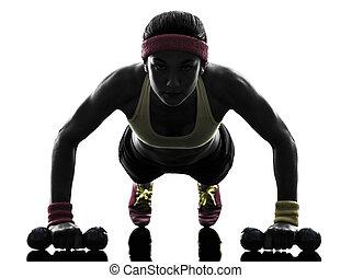 exercising, силуэт, разрабатывать, от себя, женщина, фитнес, ups