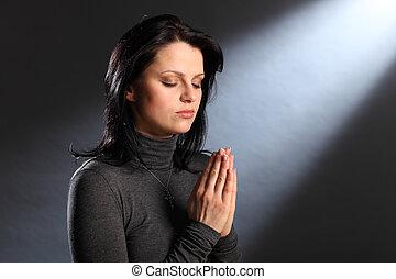 eyes, женщина, молодой, религия, момент, закрыто, молитва