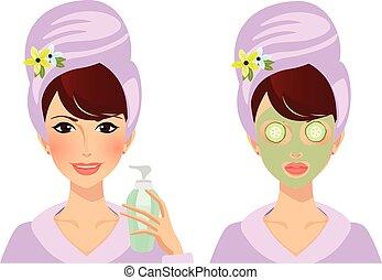 eyes, задавать, puts, лицо, маска, cucumbers, вектор, глина, девушка, леди, крем