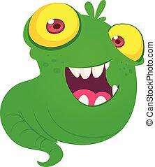 eyes., монстр, милый, иллюстрация, летающий, вектор, большой, зеленый, желтый