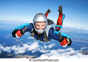 falls, через, парашютист, воздух