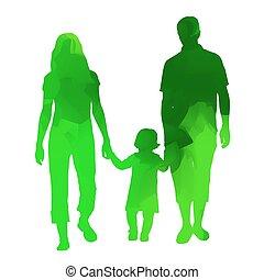family., абстрактные, вектор, зеленый, силуэт