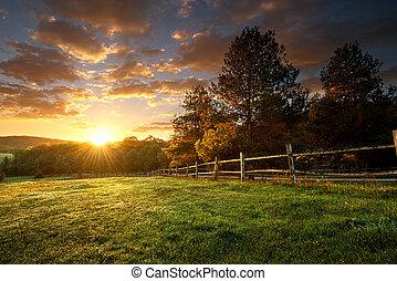 fenced, пейзаж, ранчо, восход, живописный
