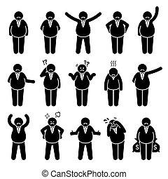 figures, жир, или, set., работодатель, actions, состоятельный, poses, персонаж, босс, значок, придерживаться
