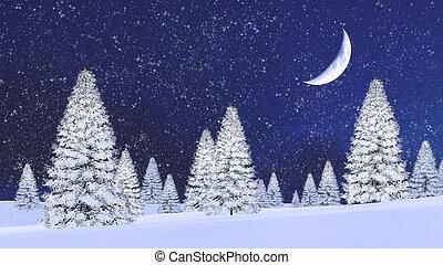 firs, ночь, снегопад, снежно, половина, луна