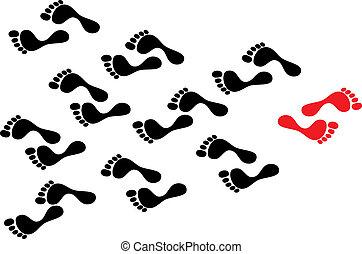 follows, концепция, толпа, показать, follows., footprints, footmark, течь, против, индивидуальность, человек, в то время как, определенный, черный, волна, путь, дорожка, взятый, бунт, лидер, красный
