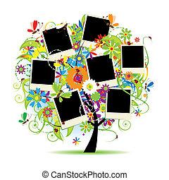 frames, дерево, album., ваш, цветочный, семья, photos.