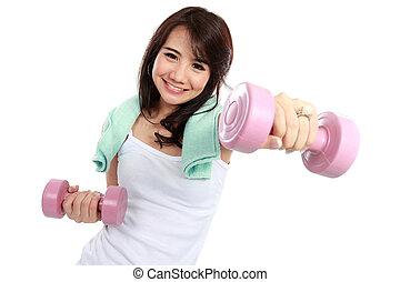 free-weights, женщина, exercising