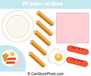 game., пластина, делать, резка, порез, бумага, питание, вставить, worksheet., образовательных, diy, glue., children, activity.