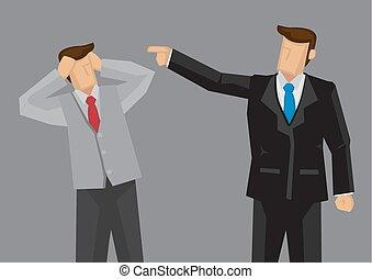 gets, иллюстрация, вектор, босс, наемный рабочий, scolded
