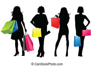 girls, силуэт, поход по магазинам