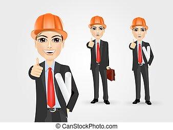 giving, мужской, вверх, инженер, thumbs