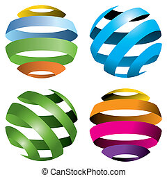 globes, вектор, 4