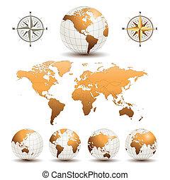 globes, земля, мир, карта