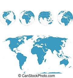 globes, карта, вектор, -, мир