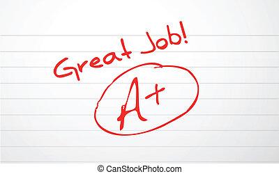 grading, бумага, работа, хорошо, красный, чернила