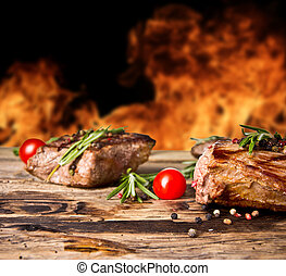 grilled, задний план, flames, говядина, steaks
