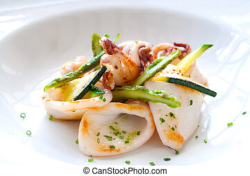 grilled, закрыть, calamari., вверх