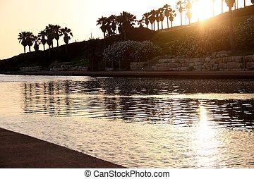 hadera, река, закат солнца