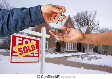 handing, keys, дом, над, новый, фронт, главная