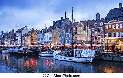 harbour, nyhavn, копенгаген, ночь