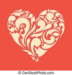 heart., плакат, абстрактные, ретро, цветочный, люблю, concept.
