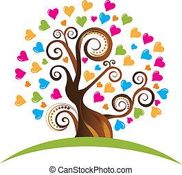 hearts, дерево, ornaments, логотип