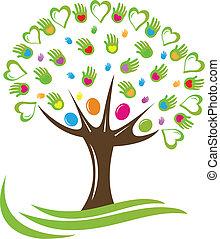 hearts, руки, дерево, логотип
