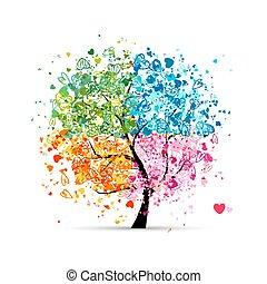 hearts, seasons, -, лето, ваш, дерево, 4, осень, изобразительное искусство, winter., весна, сделал, дизайн