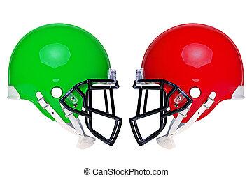 helmets, американская, футбол, isolated