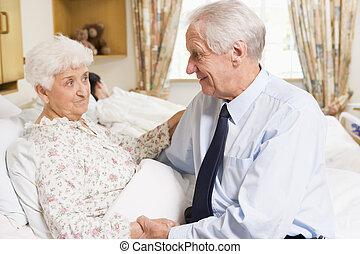 his, жена, больница, сидящий, старшая, человек