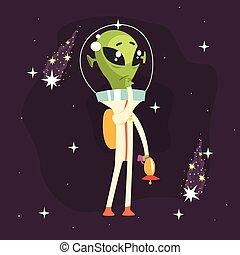 his, задумчивый, оружие, рука, инопланетянин, posing
