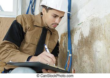 his, за работой, notes, работник, молодой, в то время как, буфер обмена, принятие