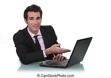 his, от, показ, бизнесмен, новый, портативный компьютер