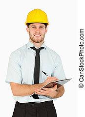 his, notes, вести, улыбается, буфер обмена, принятие, работник, молодой