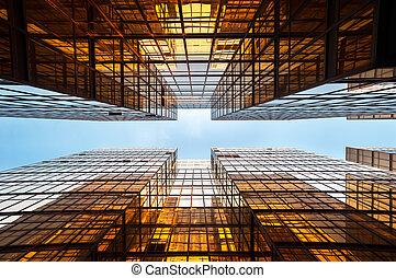 hong, офис, buildings, mirrored, kong, симметричный