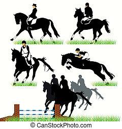 horses, silhouettes, jockeys