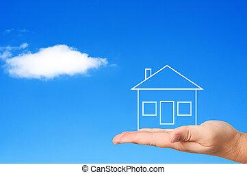 housing., концепция, пальма, дом