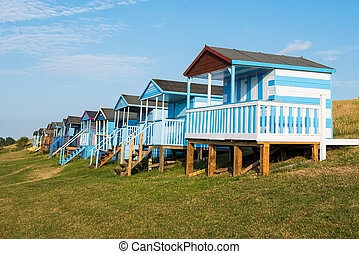 huts, пляж, район, whitstable, colourful, облицовочный, деревянный, england., берег, кент, океан
