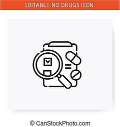 icon., линия, лекарственный, иллюстрация, редактируемые, testing