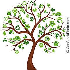 icons, дерево, 3, -, экологический