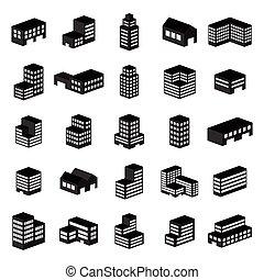 icons., иллюстрация, вектор, здание