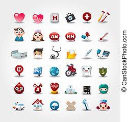 icons, коллекция, больница, вектор, медицинская